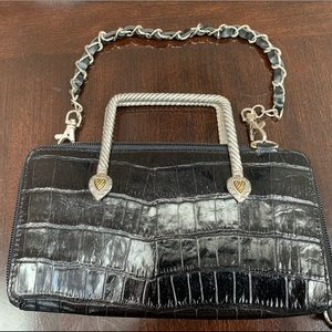 Cute, black wallet/purse with chain straps.